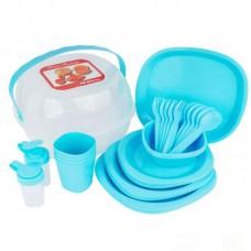 Набор посуды для пикника 48 предметов компактный Stenson Blue