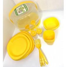 Набор посуды для пикника 48 предметов компактный Stenson Yellow