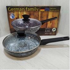 Сковорода гранитная 24 см 3 л с крышкой German Famili GM-24-051