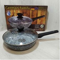 Сковорода гранитная 28 см 4,5 л с крышкой German Famili GM-28-051