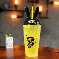 Стакан охлаждающий с трубочкой 450 мл Ice Cup Bunny Желтый