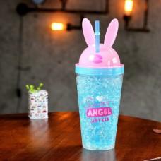 Стакан охлаждающий с трубочкой 450 мл Ice Cup Bunny Голубой