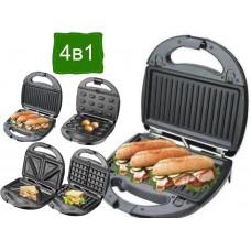 Гриль, бутербродница, вафельница, орешница 4в1 Domotec MS-7704, 1000 Вт со съемными формами