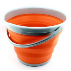 Ведро складное силиконовое круглое 10 л CYAN Orange