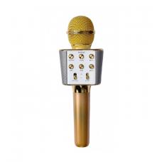 Микрофон караоке с USB, microSD, AUX, FM, Bluetooth со встроенной колонкой 6 Ватт WSTER WS-1688 Gold (WS-1688G)