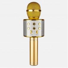 Беспроводной караоке микрофон с динамиком WSTER Bluetooth USB WS-858 в чехле Gold (WS858G)